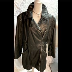 Vintage Wilson's Black Leather Coat Large